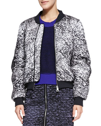 White Noise Patterned Flight Jacket, Contrast-Trim Knit Pullover Sweater & ...