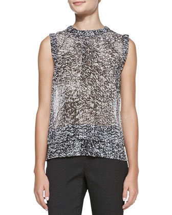 Smooth/Textured Layered Jacket & Sleeveless Double-Layer White Noise-Print Top