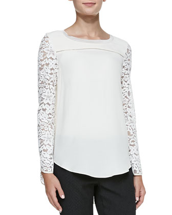Long-Sleeve Lace-Mixed Top