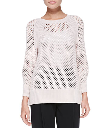Rib-Trim Perforated Knit Pullover Top