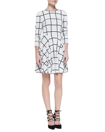 Long-Sleeve Windowpane-Print Dress