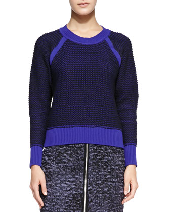 Contrast-Trim Knit Pullover Sweater