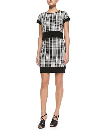 Plaid Crop-Top Popover Double Dress