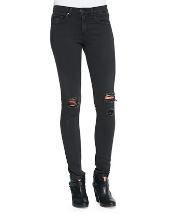 The Skinny Distressed Denim Jeans, Soft Rock W/Holes