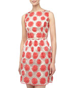 Flower Embroidered Doupioni Dress, Red