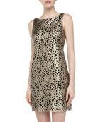 Floral Laser-cut Faux Leather Dress, Champagne