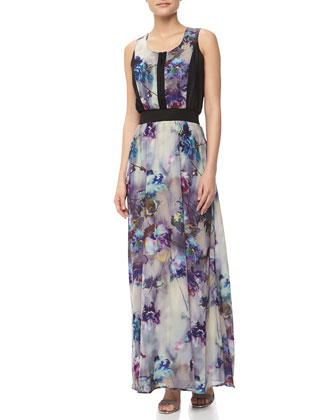 Floral Print Charmeuse Maxi Dress