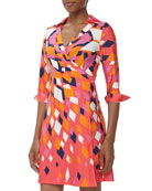 Milo Diamond Print Jersey Wrap Dress, Red Orange Burst