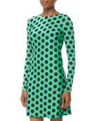 Morgan Polka-Dot Jersey Dress, Green/Navy