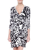 Long-Sleeve Stretch-Knit Wrap Dress, Black/White