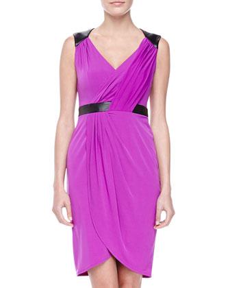 Sleeveless Faux-Leather Stretch Wrap Dress, Purple