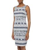 Sleeveless Lace Contrast Sheath Dress, Denim/Ivory