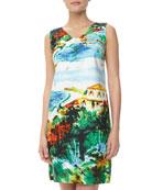 City Print Sateen Day Dress, Aqua/Green