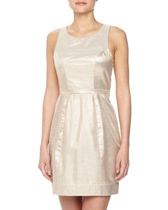 Gold Party Sleeveless Snake-Print Lurex Dress, Rose Gold