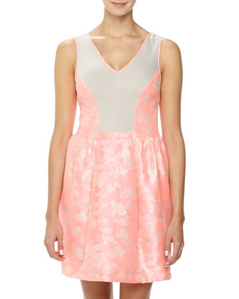 Jacquard/Ponte Fit-and-Flare Dress, Pink/Beige