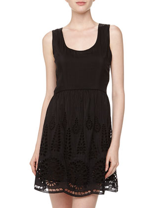 Sleeveless Lace-Cutout Jersey Dress, Black