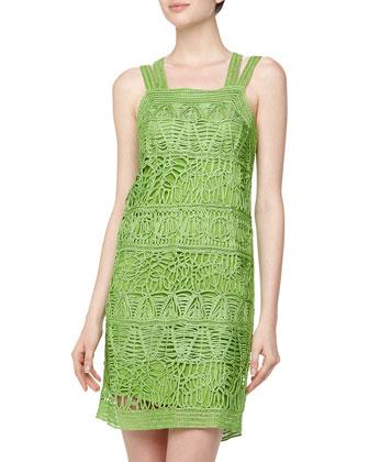 Sleeveless Braided Sun Dress, Kelly Green