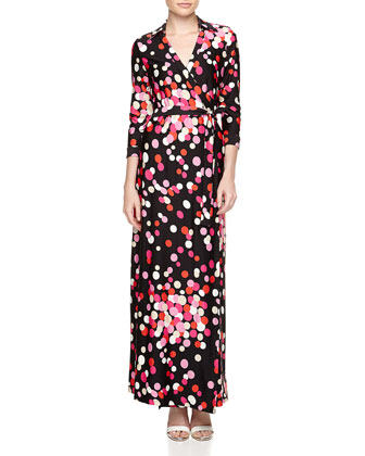 Dot-Print Maxi Wrap Dress, Pink Red Sprouse