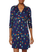 Milo Sailboat Print Jersey Wrap Dress, Harbor