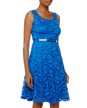 Sleeveless Belted Lace Dress, Cobalt