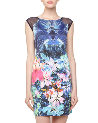 Floral Print Mesh Inset Sheath Dress, Blue
