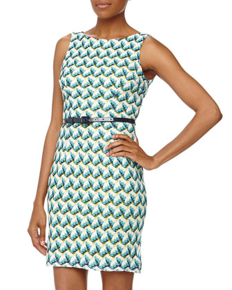 Sleeveless Scallop Lace Sheath Dress, Teal