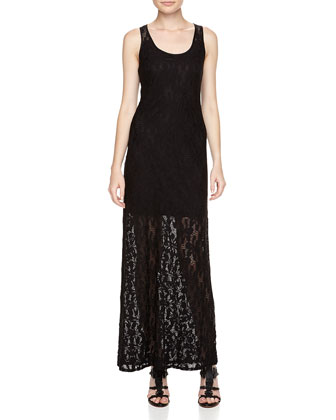 Floral Lace-Overlay Maxi Dress, Black