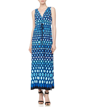 Geometric-Print Maxi Dress, Blue Beret