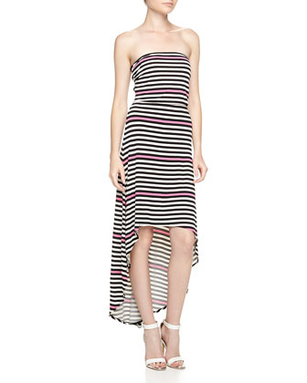 Strapless Mixed-Stripe High-Low Maxi Dress, Neon Pink
