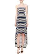 Striped Strapless Maxi Dress, Blue Beret