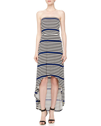 Striped Strapless Maxi Dress, Blue Beret