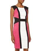 Colorblock Geo-Jacquard Dress, Fuchsia/Ivory/Black