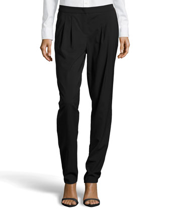 Tutu Pleated Suiting Pants, Black