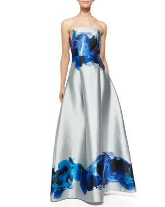 Astor Strapless Brushstroke Swirl Gown