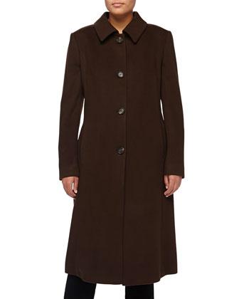 Crisca Wool-Cashmere Long Coat, Dark Brown