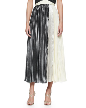 Sleeveless Pleated V-Neck Top & Pleated Maxi Mixed Media Skirt
