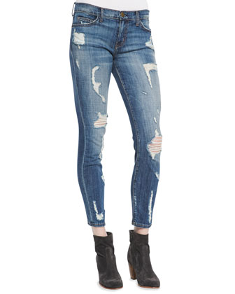 Off-Campus Jersey Henley & Stiletto Distressed Denim Jeans