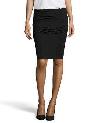 Ruina Pleated Knit Pencil Skirt, Black