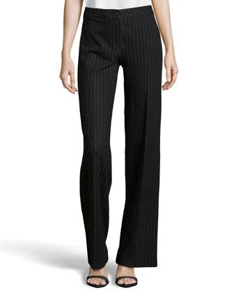 Tux Pinstripe Wool-Knit Pants, Black