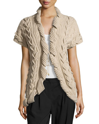 Sulmani Chunky Knit Vest, Light Beige
