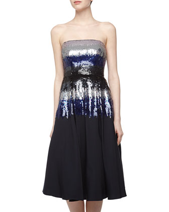 Ombre Sequin Strapless Cocktail Dress, Navy