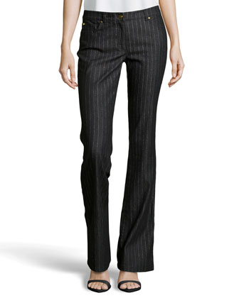 Metallic Pinstripe Stretch Jeans, Black