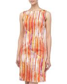 Asymmetric Brush-Print Sheath Dress