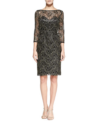 3/4-Sleeve Overlay Lace Cocktail Dress