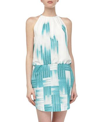 Sleeveless Ombre Grid Chiffon Dress, Celeste Multi