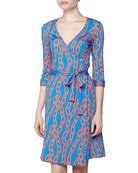 Chain Link Print Wrap Dress, Blue/Orange