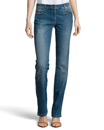 Whiskered Medium-Wash Jeans, Blue