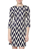Maggie Long-Sleeve Chevron Stretch-Knit Dress, Navy/Ivory