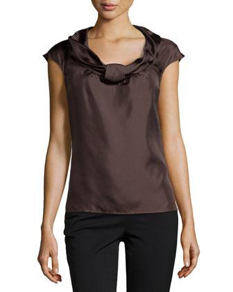 Nuri Sleeveless Silk Shell Top, Dark Brown