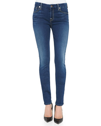 Mid-Rise Faded Skinny Jeans, Brilliant Blue